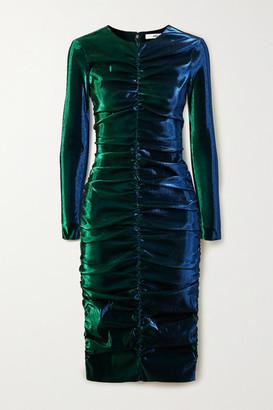 Area Ruched Lurex Dress - Green