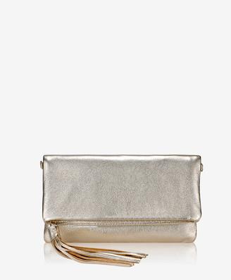 GiGi New York Stella Fold-Over Clutch, White Gold Metallic Goatskin