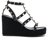 Valentino Leather Torchon Rockstud Espadrille Wedges