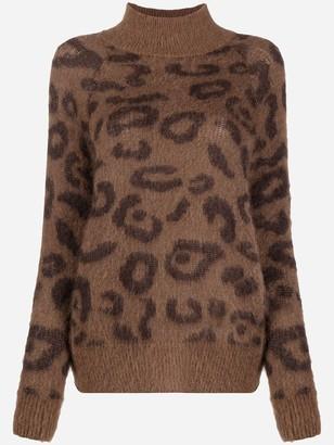 P.A.R.O.S.H. Mock Neck Leopard Print Jumper