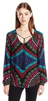 Ella Moss Women's Aurora Printed Long Sleeve Blouse