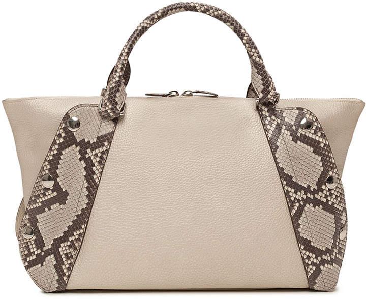 Akris Aimee Small Bicolor Leather & Python Satchel Bag