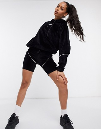 Criminal Damage velour legging shorts co-ord with contrast piping in black