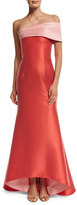 Sachin + Babi Two-Tone Stretch Jacquard Mermaid Gown, Coral