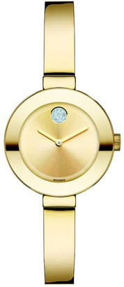 Movado BOLD Crystal & Goldtone IP Stainless Steel Bangle Bracelet Watch/25MM