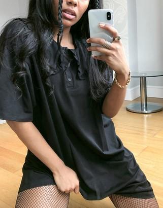 ASOS DESIGN mini tea dress with oversized prarie collar in black
