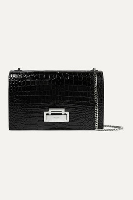 Saint Laurent Croc-effect Patent-leather Shoulder Bag - Black