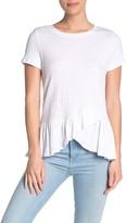 White Willow Ruffle Hem Knit T-Shirt