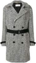 Saint Laurent belted graphic knit coat
