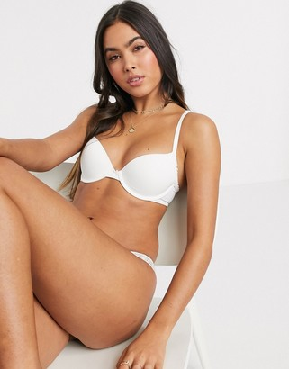 aerie real happy demi push up bra in true white