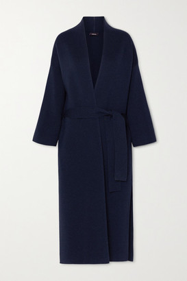 Akris Belted Wool And Silk-blend Coat - Navy