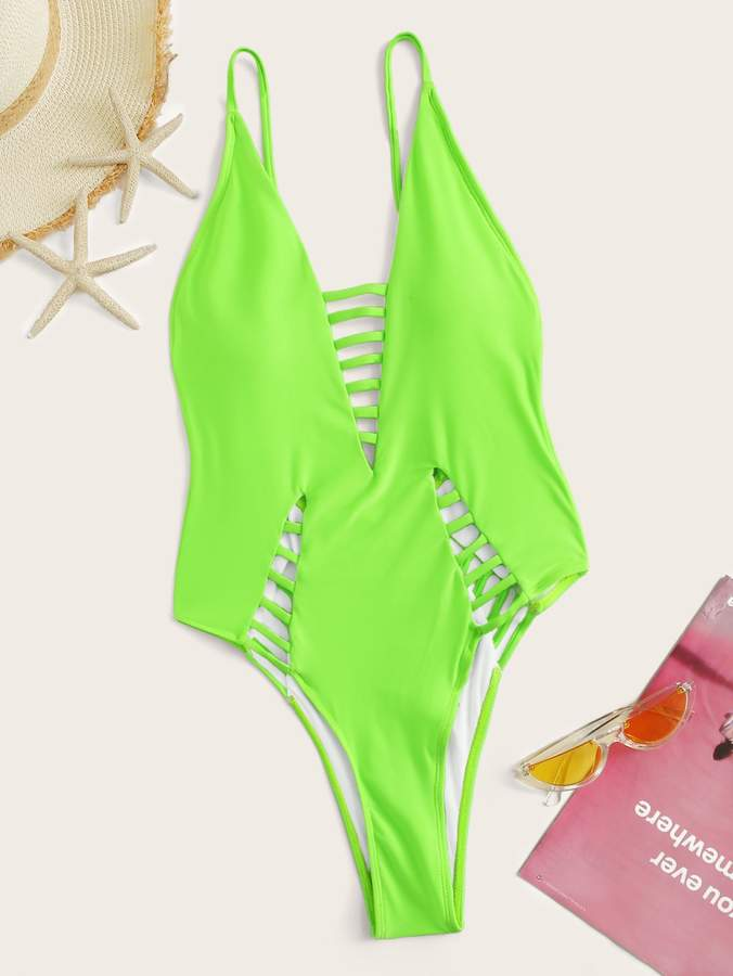 3a389f72d4 Green Cut Out One-piece Swimsuit - ShopStyle