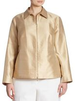 Lafayette 148 New York, Plus Size Adaya Silk & Cotton Shantung Jacket