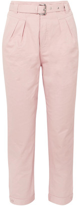 Paul & Joe Arsenios Cropped Belted Cotton-twill Tapered Pants