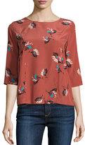 BA&SH Piala Floral-Print 3/4-Sleeve Silk Top