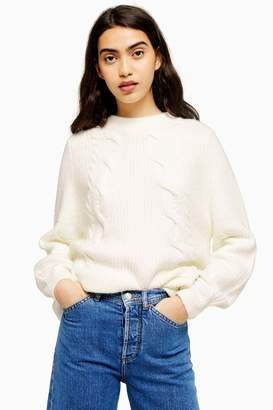 Topshop Womens White Super Soft Diagonal Cable Jumper - White