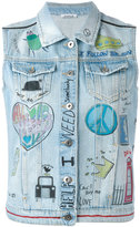 P.A.R.O.S.H. illustrated denim gilet - women - Cotton - S