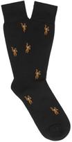 Paul Smith Monkey-Patterned Mercerised Cotton-Blend Socks