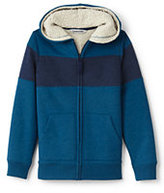 Classic Little Boys Pieced Sherpa Lined Hoodie-Bright Sea Teal