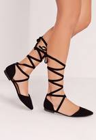 Missguided D'orsay Ballerina Tie Ankle Strap Shoe Black