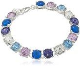 """Nine West Bright Baguettes"""" Silver-Tone/Purple Multi-Flex Bracelet, 7.25"""""""