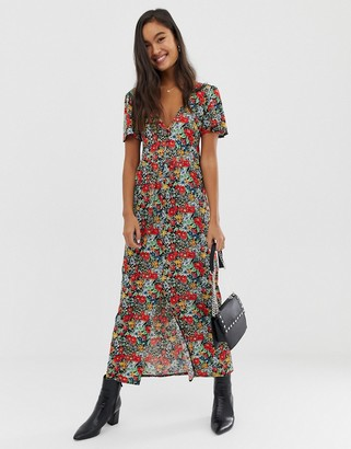 Asos Design DESIGN jersey crepe maxi tea dress with self covered buttons-Multi