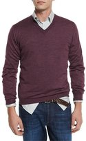 Brunello Cucinelli Fine-Gauge V-Neck Sweater, Wine