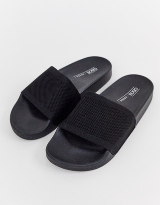 Pool' Asos Design ASOS DESIGN Flipside knitted pool sliders-Black