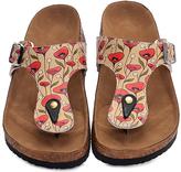 Black & Red Floral T-Strap Sandal