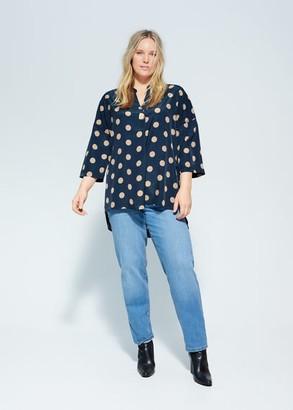 MANGO Violeta BY Polka-dot print blouse blue - 10 - Plus sizes