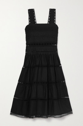 Waimari Maya Shirred Crocheted Lace-trimmed Cotton-blend Dress - Black