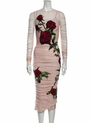 Dolce & Gabbana Graphic Print Long Dress Pink