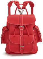 Grafea Red Hot Medium Leather Rucksack Red