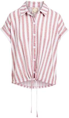 Tru Self Women's Blouses ROSEWOOD/WHITE - Rose & White Stripe Tie-Accent Button-Front Top - Women