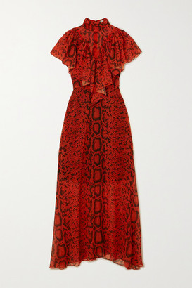 Preen by Thornton Bregazzi Ruffled Snake-print Georgette Maxi Dress - Red