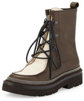 Brunello Cucinelli Monili-Trim Leather Hiker Boot, Brown/Ivory