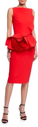 Chiara Boni Morny Sleeveless Geranium Rose Detailed Peplum Dress