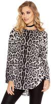 Quiz Grey Light Knit Leopard Print Zip Back Top