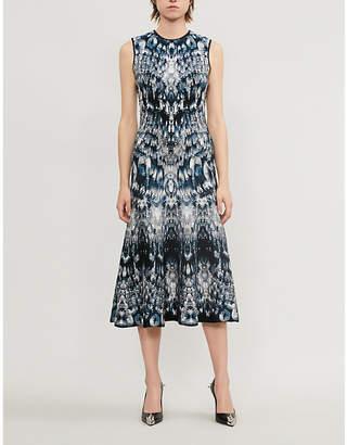 Alexander McQueen Abstract-print stretch silk-blend dress