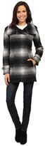 Calvin Klein Plaid Wool with Zip Closure and Sleeve Detail Women's Coat