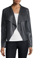 Bagatelle Faux-Leather Open-Front Jacket, Gray