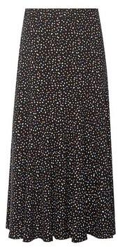 Dorothy Perkins Womens Black Spot Print Midi Skirt, Black