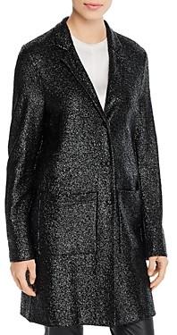 Harris Wharf Metallic Patch-Pocket Cocoon Coat