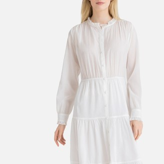 La Redoute Collections High Neck Button-Through Midi Dress with Gathers