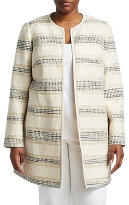 Lafayette 148 New York, Plus Size Pria Collarless Jacket