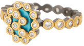 Freida Rothman Two-Tone Turquoise Cutout Marquise Ring - Size 9