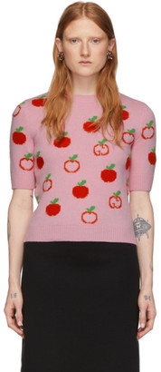 Gucci Pink Jacquard GG Apple Half-Sleeve Sweater