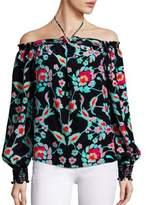 Tanya Taylor Mosaic Floral Mira Off-The-Shoulder Top