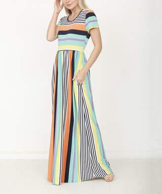 Egs By Eloges egs by eloges Women's Maxi Dresses green - Green & Orange Stripe Short-Sleeve Maxi Dress - Women