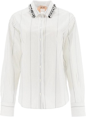 N°21 N.21 PINSTRIPE SHIRT WITH CRYSTALS 38 White, Black Cotton